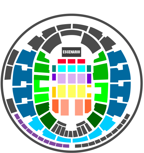 Mapa Movistar Arena Concierto Rod Stewart en Chile