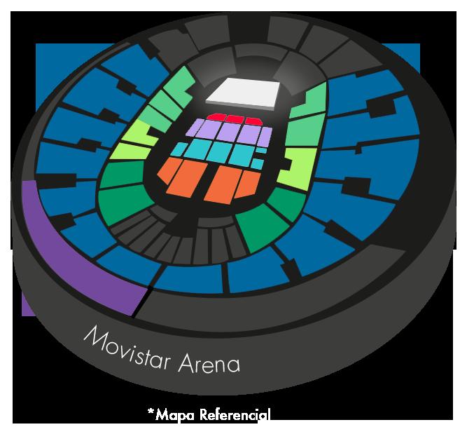 Mapa Movistar Arena Illapu - Entradas