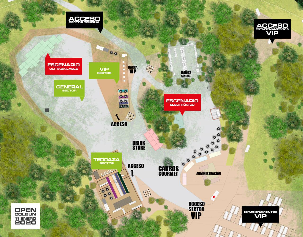 Plano de los sectores de Open Colbun 2020 | Imagen referencial