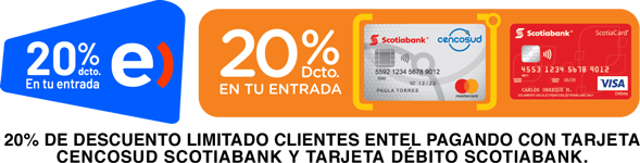 20% descuento para clientes Entel pagando con Tarjeta Cencosud Scotiabank