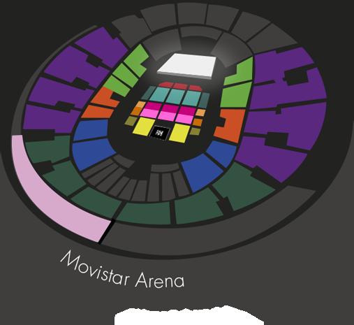 mapa Movistar Arena concierto Romeo Santos