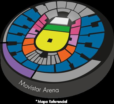 Mapa sectores Movistar Arena - Jamiroquai en Santiago