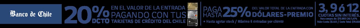 Beneficio exclusivo para clientes Banco de Chile, incluye Banco Edwards y Credichile