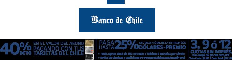Cosquín Rock DESCUENTO banco de CHILE