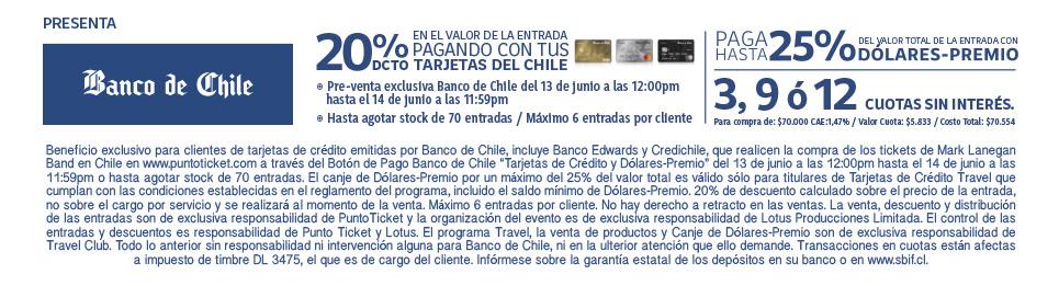 20% descuento Banco de Chile