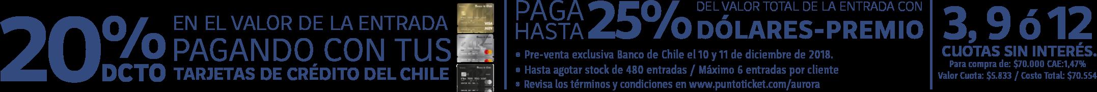 Promoción Banco de Chile para la compra de entradas de Aurora en Chile - 2019
