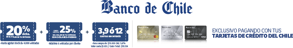Banco de Chile - Descuentos exclusivos pagando con tarjetas Crédito del Chile