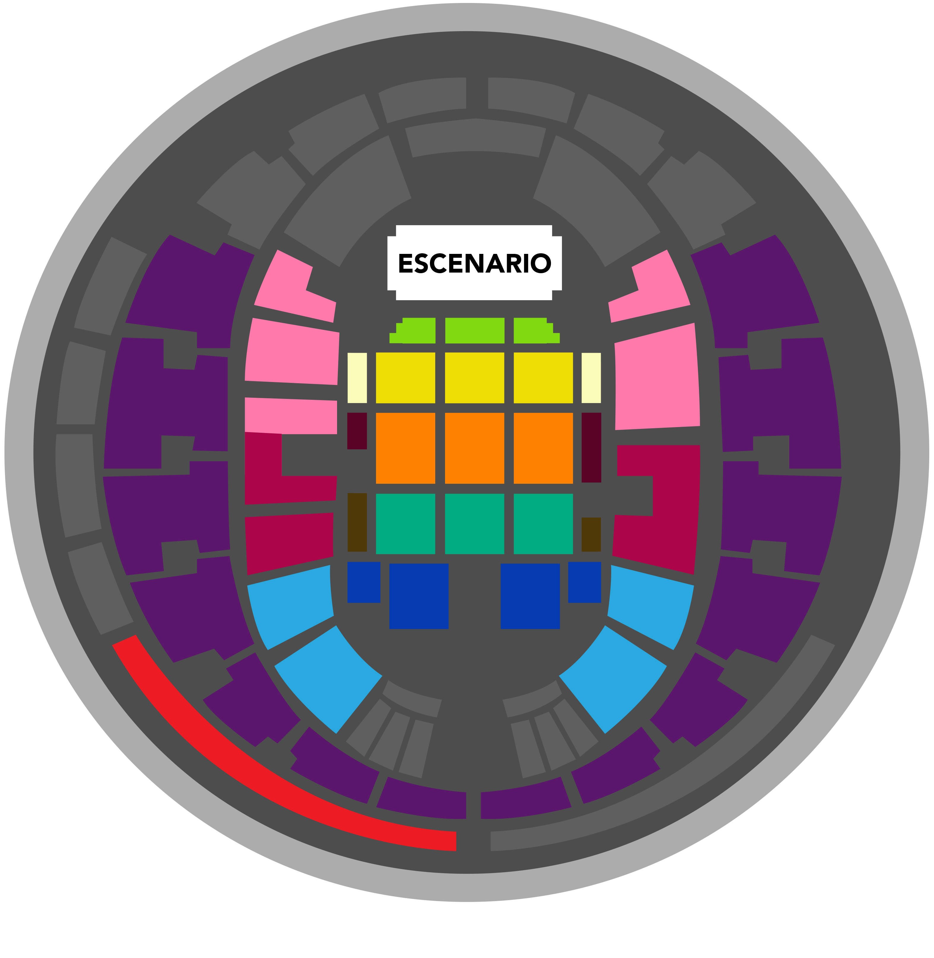Movistar Arena - Mapa referencial sujeto a cambios