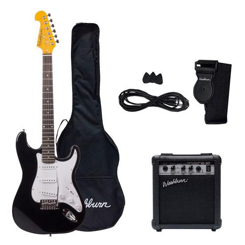 Pack Guitarra Eléctrica WS300B Washburn, color negra