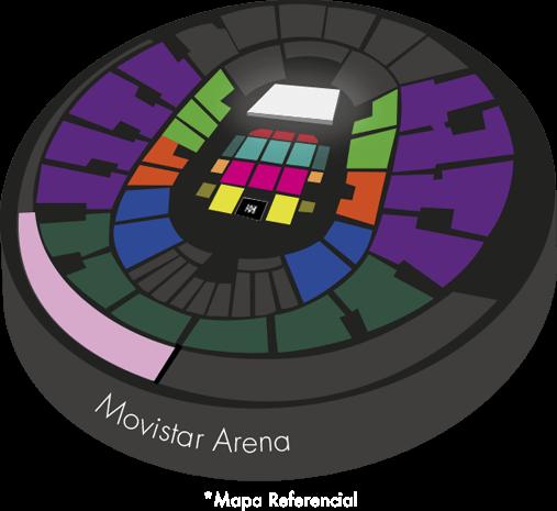 Mapa Movistar Arena concierto Alejandro Fernández