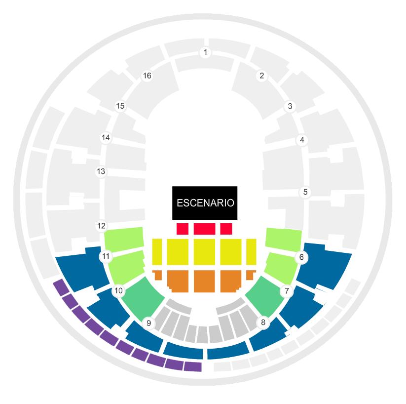 Mapa Movistar Arena Entradas ZAZ en Chile